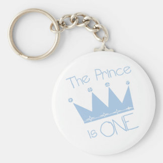 Prince Crown 1st Birthday Tshirts and gifts Basic Round Button Key Ring