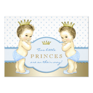 Prince Twin Boy Baby Shower 11 Cm X 16 Cm Invitation Card