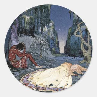 Princess Asleep in Forest Round Sticker
