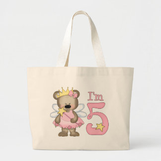 Princess Bear 5th Birthday Jumbo Tote Bag