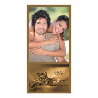 Princess Cut Diamond Ring Engagement Announcement Photo Greeting Card