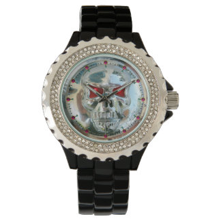 PRINTED CHROME SKULL Red  Ruby Gems Wrist Watches