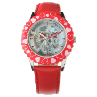 PRINTED CHROME SKULL Red  Ruby Gems Wristwatch