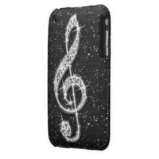 Printed Glitzy Sparkly Diamond Music Note iPhone 3 Case-Mate Cases