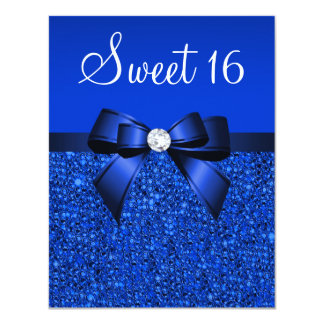 Printed Royal Blue Sequins, Bow & Diamond Sweet 16 11 Cm X 14 Cm Invitation Card