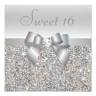 Printed Silver Sequins, Bow & Diamond Sweet 16 13 Cm X 13 Cm Square Invitation Card