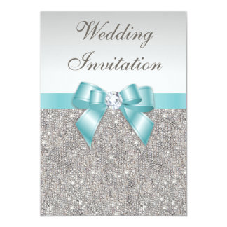 Printed Silver Sequins Diamonds Teal Bow Wedding 13 Cm X 18 Cm Invitation Card