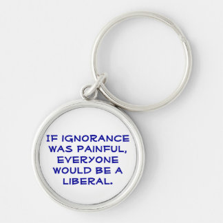 Pro-Liberal, political keychain. Silver-Colored Round Key Ring