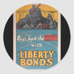 "Propaganda Poster ""Beat Back the Hun"" WWI Round Sticker"
