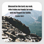 Psalm 144:1  Blessed  be the Lord... Square Sticker