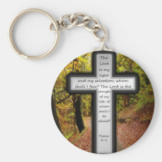 Psalm 27:1 basic round button key ring