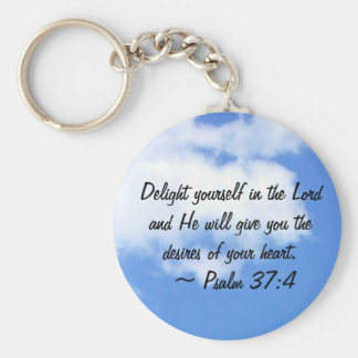 Psalm 37:4 basic round button key ring