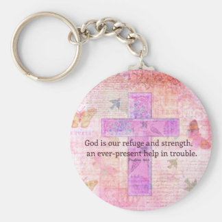 Psalm 46:1-3 Encouraging Bible Verse Basic Round Button Key Ring