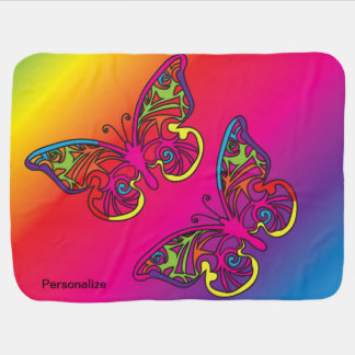 Psychedelic Butterfly Receiving Blanket