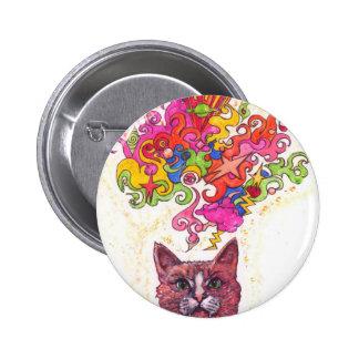 Psychedelic Cat 6 Cm Round Badge