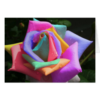 Psychedelic Rainbow Rose Greeting Card
