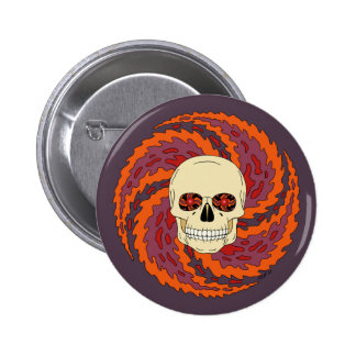 Psychedelic Skull 6 Cm Round Badge