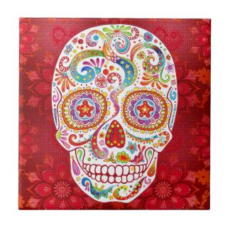 Psychedelic Sugar Skull Ceramic Tile