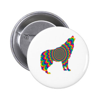 Psychedelic Wolf 6 Cm Round Badge