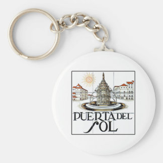 Puerta del Sol, Madrid Street Sign Basic Round Button Key Ring