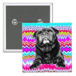 PUG BUTTON- Black PUG-  Pink, Aqua & White RAD ZAG 15 Cm Square Badge