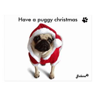 Pug dinghy one Christmas cards Postcard