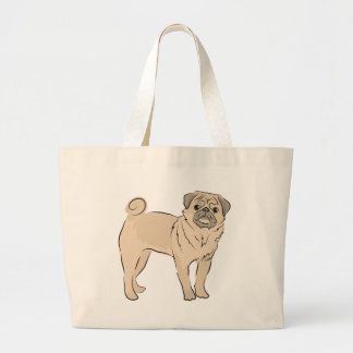 PUG dog standing alone cute! Jumbo Tote Bag