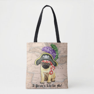 Pug Pirate Tote Bag