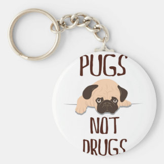 pug pugs not drugs cute dog design basic round button key ring