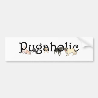 Pugaholic Fawn and Black Pug Bumper Sticker