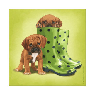Puggle in boots gallery wrap canvas
