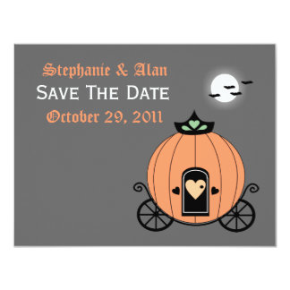 Pumpkin Carriage At Night Save The Date Card 11 Cm X 14 Cm Invitation Card