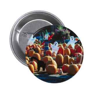 Pumpkin Patch with Ghosts - Round Button