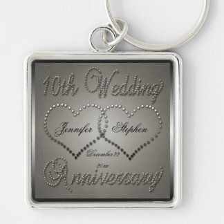 Punched Tin 10 Year Anniversary Silver-Colored Square Key Ring