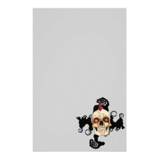 Punk Rock Gothic Skull with Red Mohawk Customised Stationery