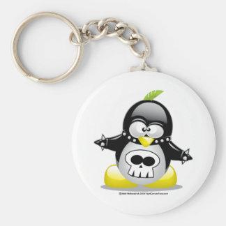 Punk Rocker Penguin Basic Round Button Key Ring