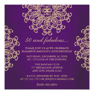 PUPPLE AND GOLD INDIAN INSPIRED BIRTHDAY 13 CM X 13 CM SQUARE INVITATION CARD