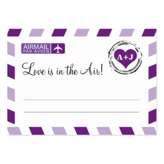Purple Airmail Seating Card Wedding Pack Of Chubby Business Cards
