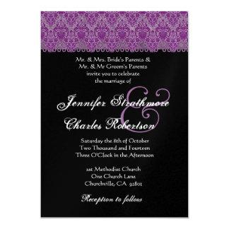 Purple and Black Damask Wedding Invitation