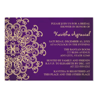 Purple and Gold Indian Inspired Bridal Shower 13 Cm X 18 Cm Invitation Card