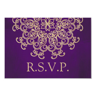 PURPLE AND GOLD INDIAN RESPONSE RSVP CARD 9 CM X 13 CM INVITATION CARD