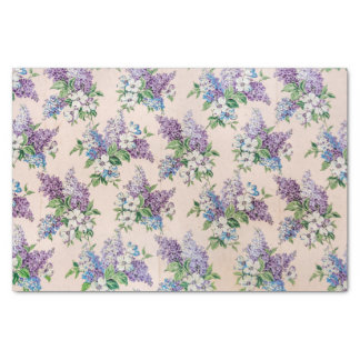 """Purple and Lavender Lilacs on Vintage Wallpaper 10"""" X 15"""" Tissue Paper"""