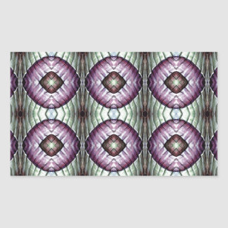 Purple and teal geometric circle pattern rectangular sticker