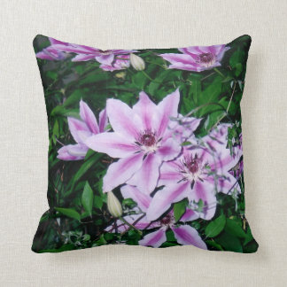 Purple and White Clematis Pillow Cushion