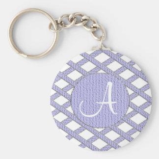 Purple and white crisscross monogram keychain
