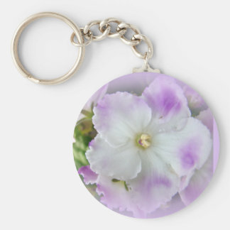 Purple and White Fancy African Violets Basic Round Button Key Ring