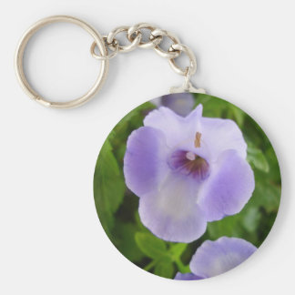 Purple and White Flowers Keychain