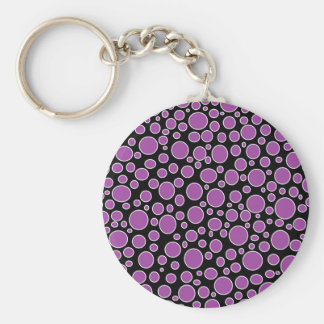 Purple and White Polka Dots Basic Round Button Key Ring