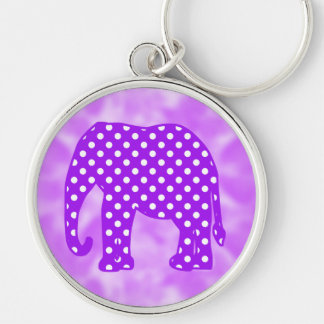 Purple and White Polka Dots Elephant Silver-Colored Round Key Ring