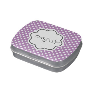 Purple and White Polka Dots Monogram Tin Jelly Belly Tins